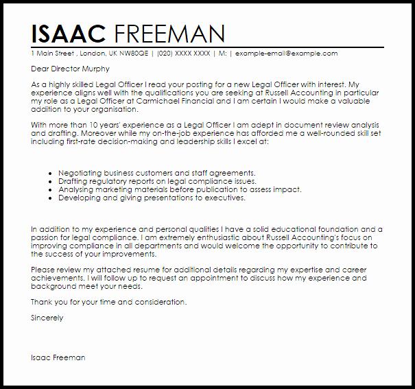 Sample Letter to Lawyer Fresh Legal Ficer Cover Letter Sample