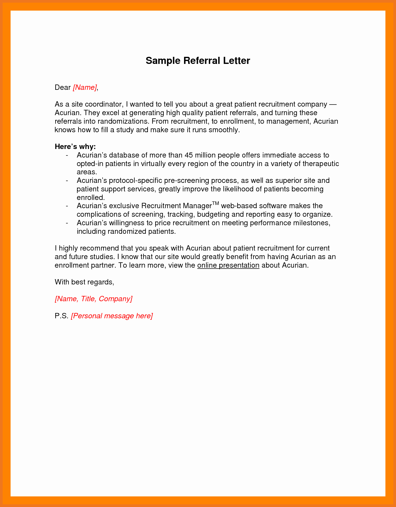Sample Letter to Patient Best Of 7 8 How to Write A Referral Letter