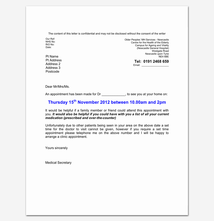Sample Letter to Patient Best Of Doctor Appointment Letter Template 14 Samples Examples