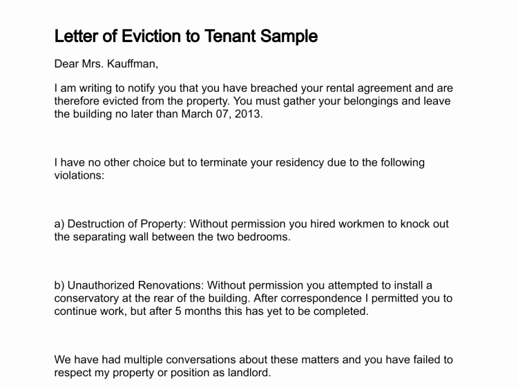 Sample Letter to Tenant Awesome Letter Of Eviction