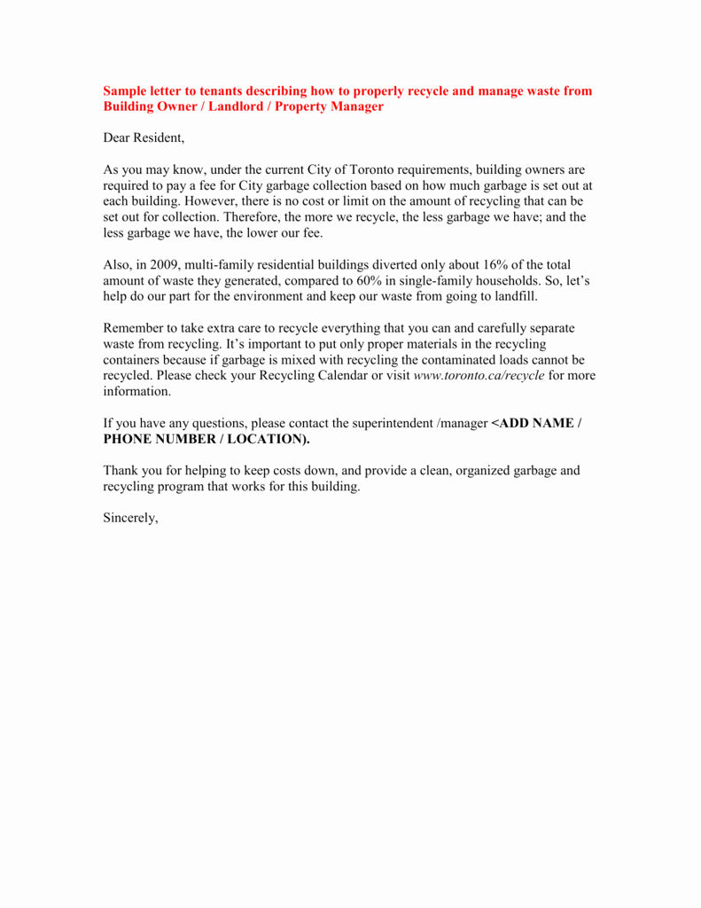 Sample Letter to Tenant Beautiful Sample Letter to All Tenants Describing How to Properly