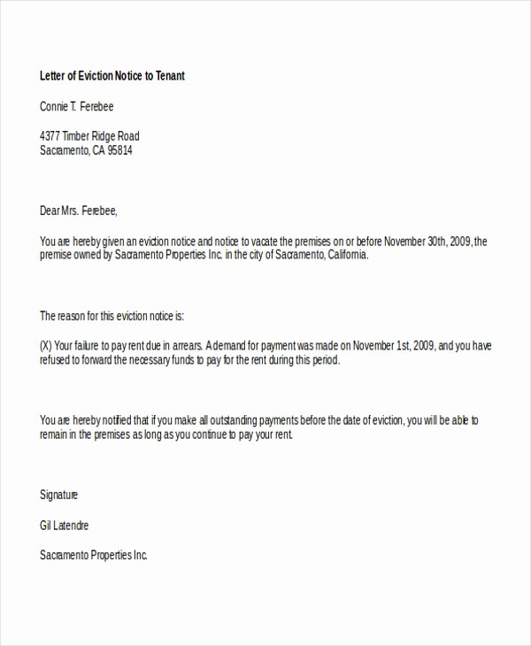 Sample Letter to Tenant Unique Free 8 Sample Eviction Notice forms In Pdf