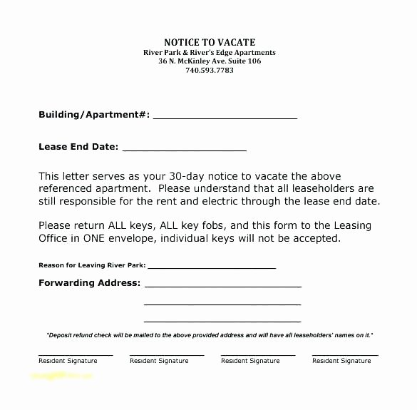 Sample Letter to Vacate Apartment Best Of Apartment 30 Day Notice Letter Nice Apartement
