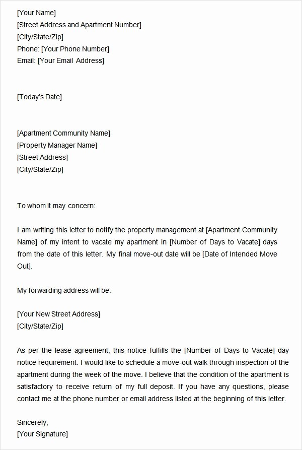 Sample Letter to Vacate Apartment Lovely Two Weeks Notice Letter 12 Download Free Documents In Word