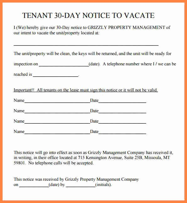 Sample Letter to Vacate Awesome 6 Tenant 30 Day Notice to Vacate Sample Letter