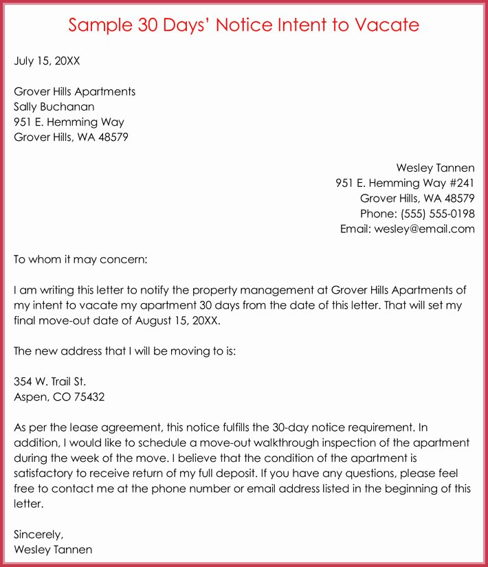 Sample Letter to Vacate Inspirational 30 Day Notice Letter Templates 12 Samples In Word & Pdf