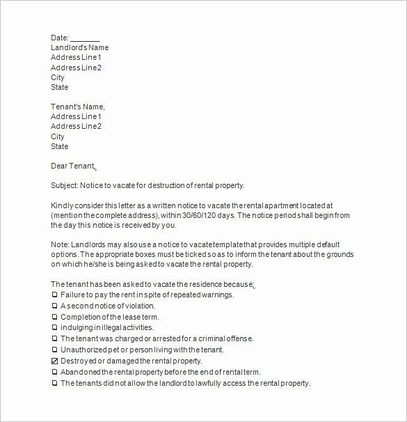 Sample Letter to Vacate New 20 Notice to Vacate Templates Pdf Google Docs Ms Word