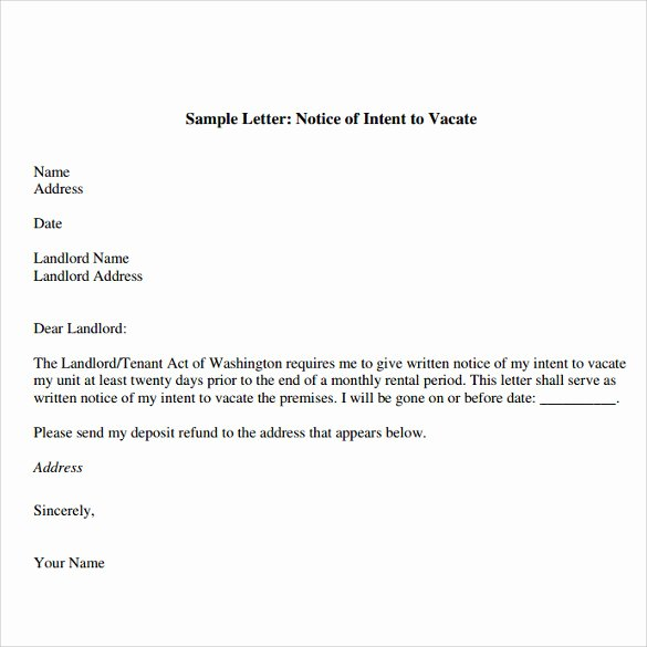Sample Letter to Vacate Unique Notice Intent to Vacate