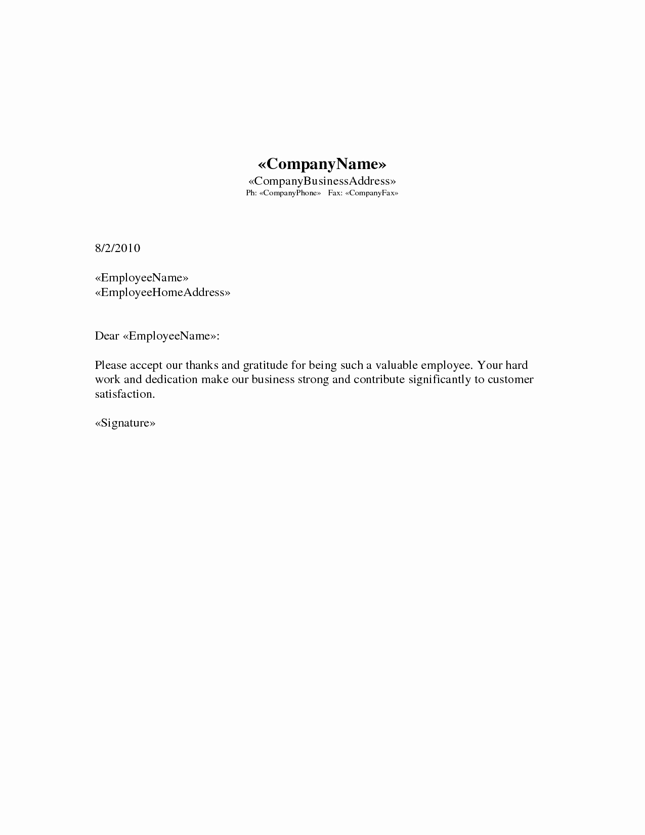 Sample Letters for Employees Awesome Best S Of Appreciation Letter to Employee for Hard