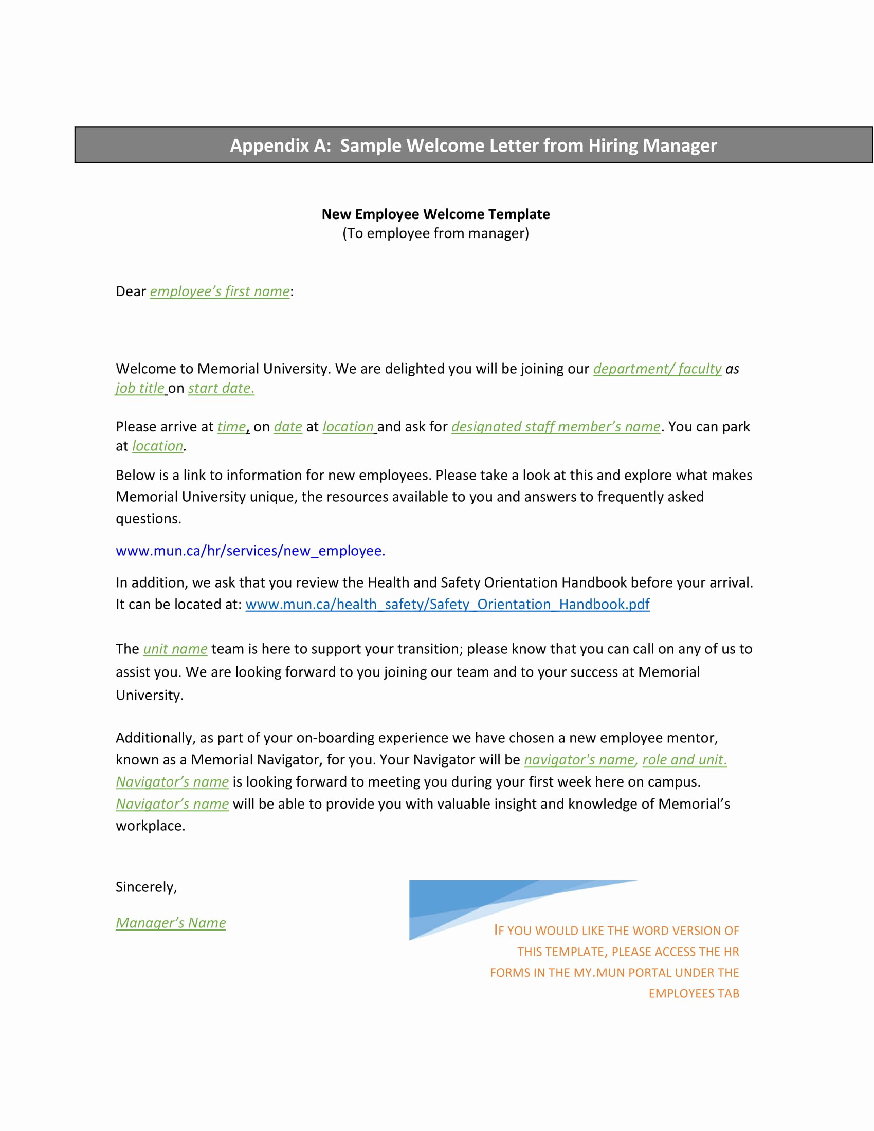 Sample Letters for Employees Beautiful 9 New Hire Wel E Letter Examples Pdf