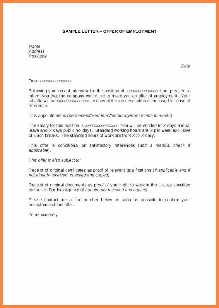Sample Letters for Employment Awesome 10 Offer Of Employment Letter