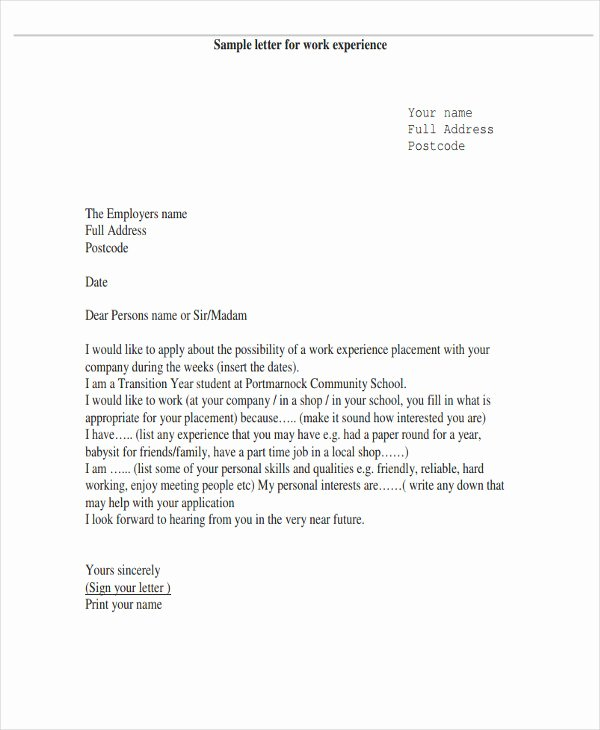 Sample Letters for Employment New 6 Work Letter Templates 6 Free Sample Example format