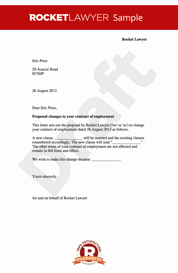 Sample Letters for Employment New Employment Contract Amendment Letter Change to