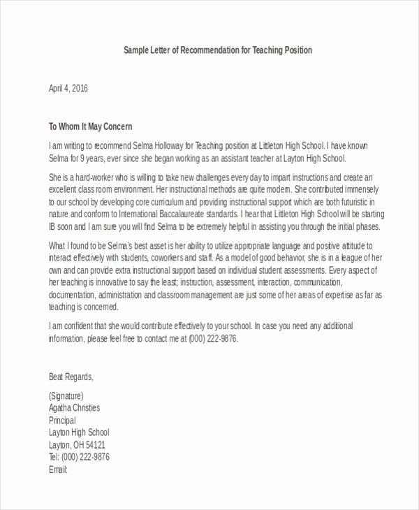 Sample Letters Of Recommendation Teacher Fresh Letter Of Re Mendation Sample 10 Free Documents In