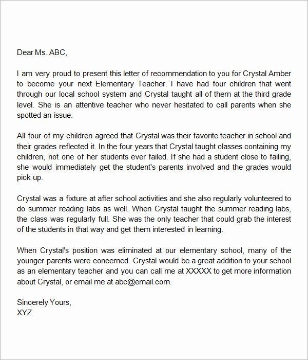 Sample Letters Of Recommendation Teacher Fresh Sample Letters Of Re Mendation for A Teacher 9