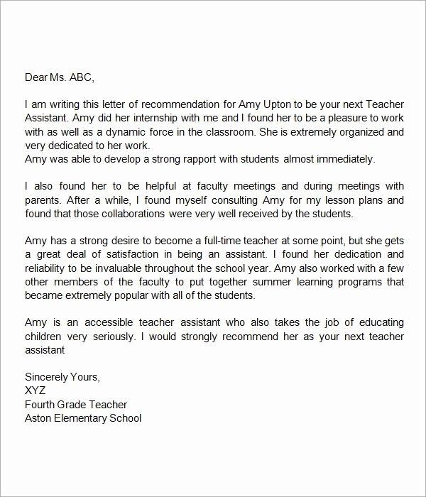 Sample Letters Of Recommendation Teacher Inspirational Re Mendation Letter for Teacher assistant