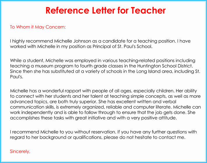 Sample Letters Of Recommendation Teacher New Teacher Re Mendation Letter 20 Samples Fromats