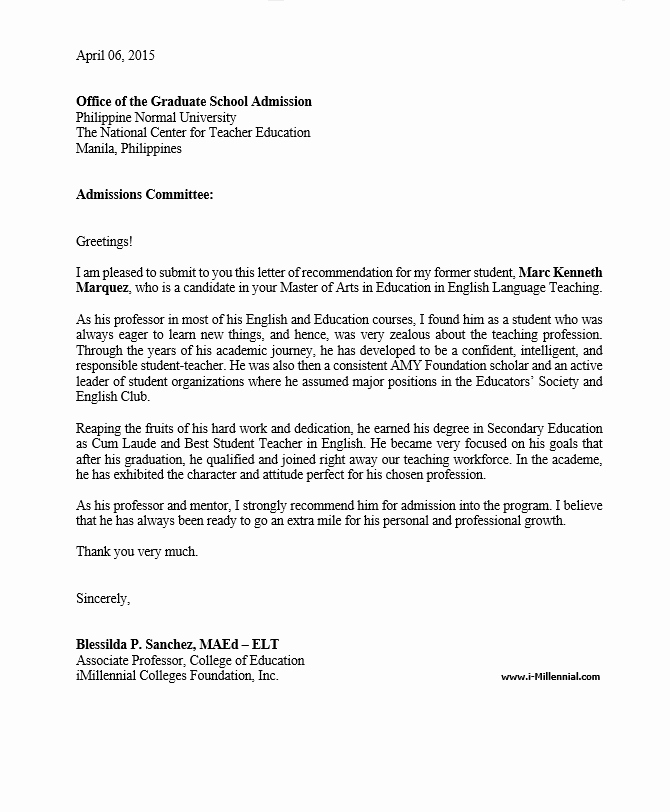 Sample Letters Of Recommendation Teachers Awesome Sample Graduate School Re Mendation Letter