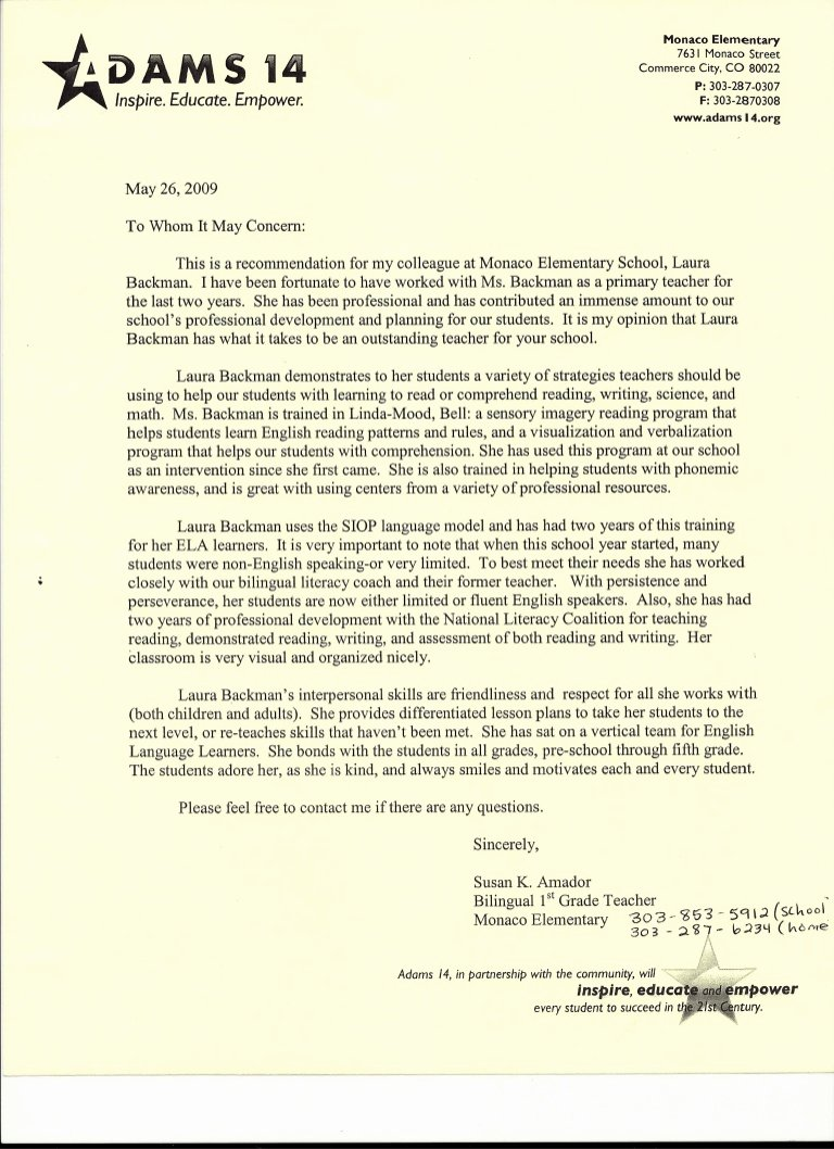 Sample Letters Of Recommendation Teachers Beautiful Letter Of Re Mendation From Elementary School Teacher