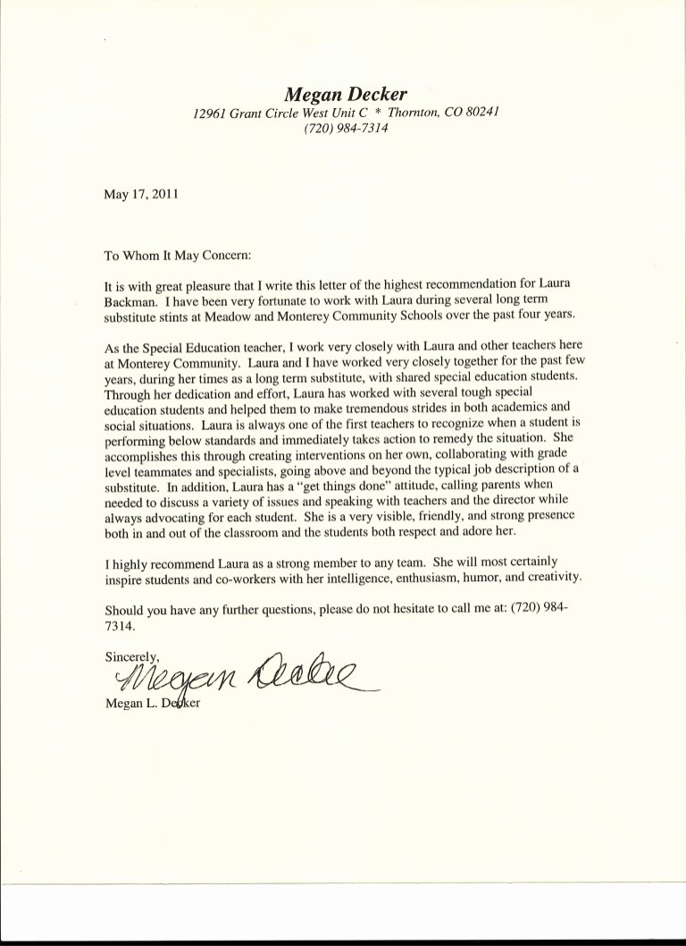 Sample Letters Of Recommendation Teachers Fresh Letter Of Re Mendation From Special Education Teacher