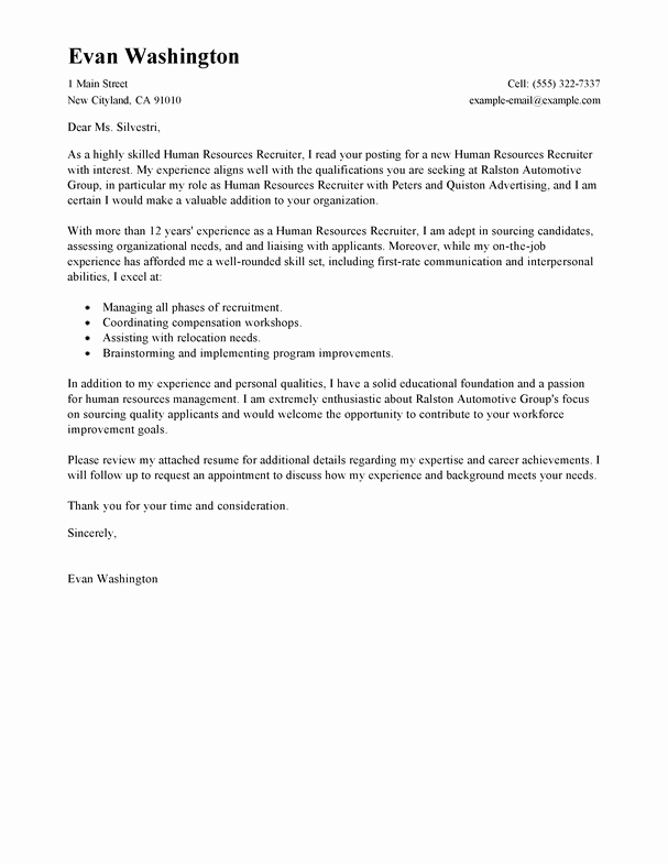 Sample Letters to Recruiters Best Of Best Recruiting and Employment Cover Letter Examples