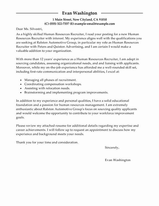 Sample Letters to Recruiters Elegant Best Recruiting and Employment Cover Letter Examples