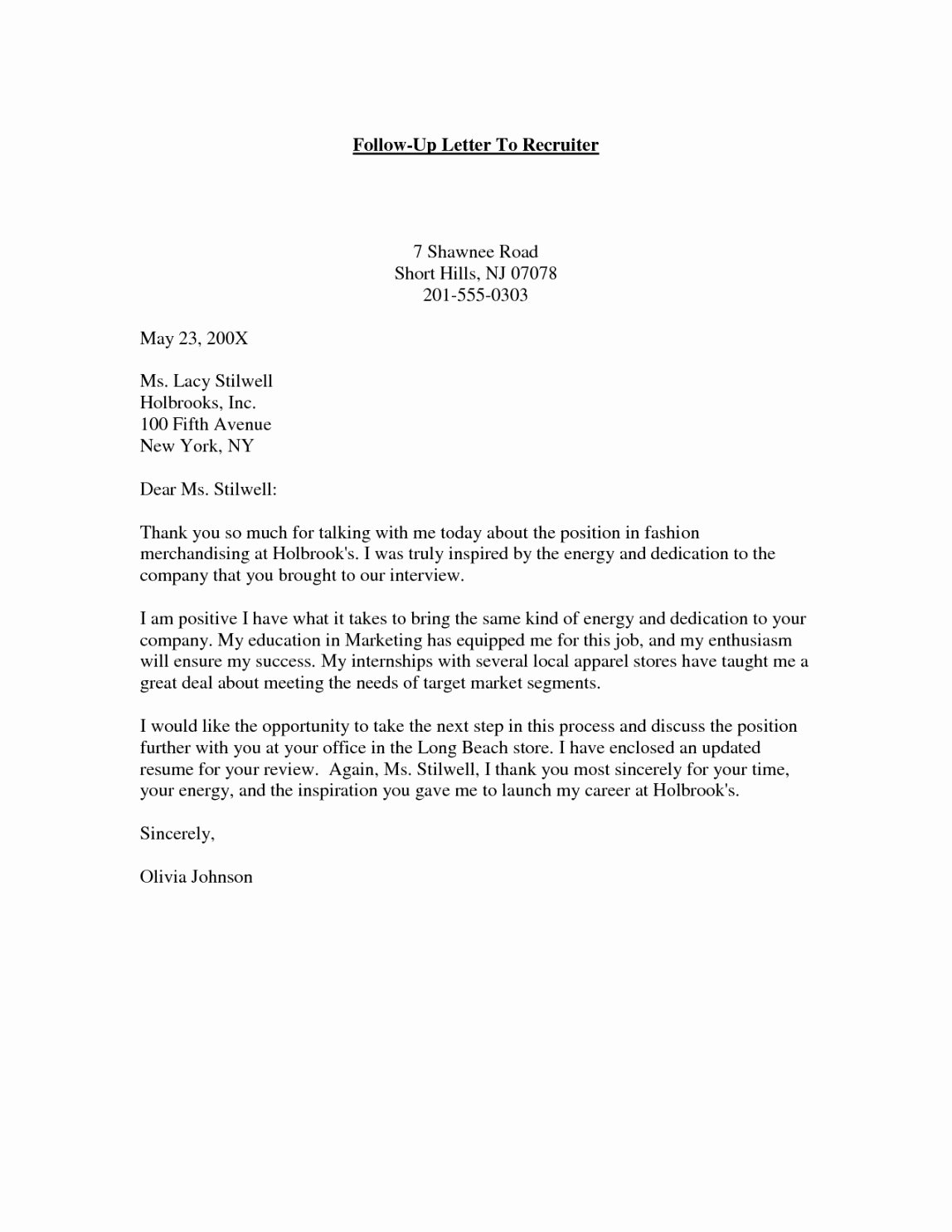 Sample Letters to Recruiters Lovely Hr Recruiter Cover Letter