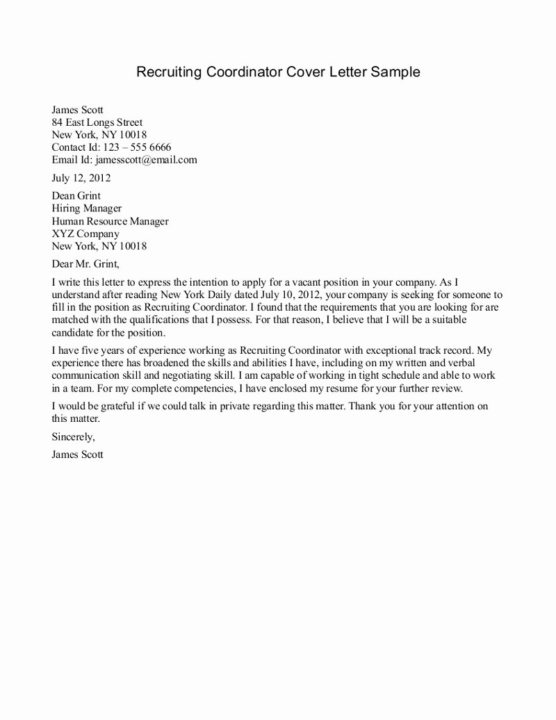 Sample Letters to Recruiters Lovely Recruiter Cover Letter