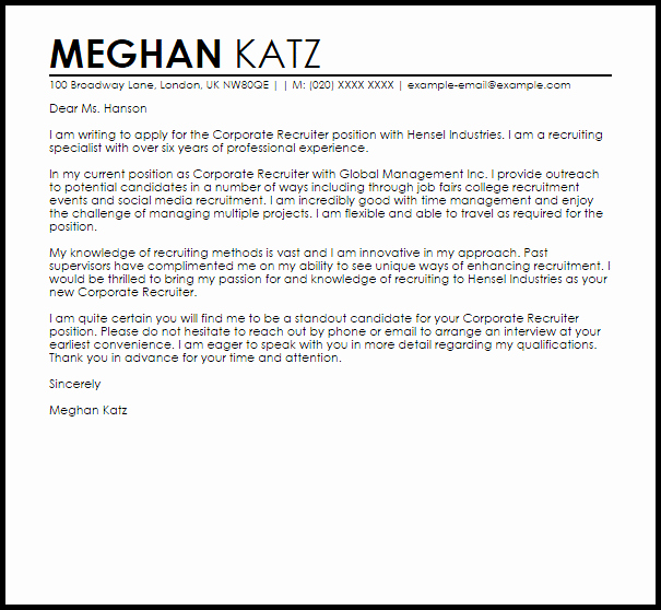 Sample Letters to Recruiters Luxury Corporate Recruiter Cover Letter Sample