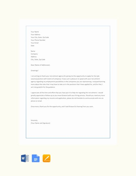 Sample Letters to Recruiters New 10 Thank You Letter to Recruiter Pdf Doc
