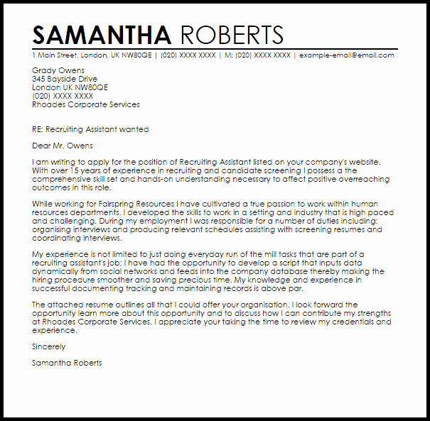 Sample Letters to Recruiters New Recruiting assistant Cover Letter Sample