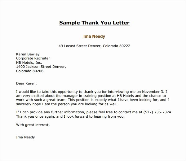 Sample Letters to Recruiters Unique Sample Thank You Letter Template 16 Free Documents