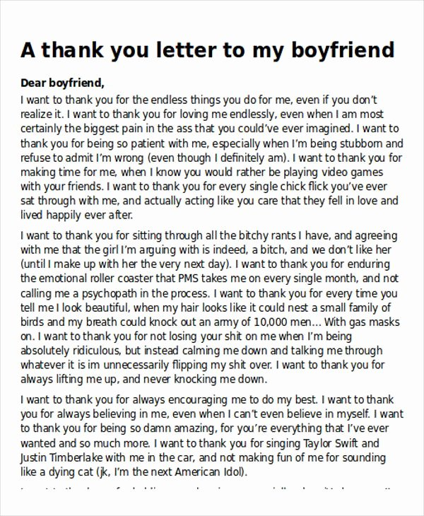 Sample Love Letter to Boyfriend Lovely Sample Thank You Letter to My Boyfriend 5 Examples In