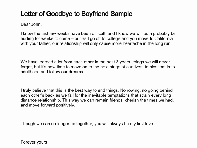 Sample Love Letter to Boyfriend Unique Letter Of Goodbye