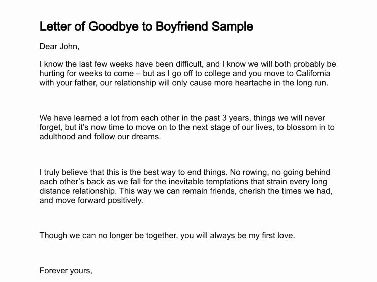 Sample Love Letter to Boyfriend Unique Letter Of Goodbye