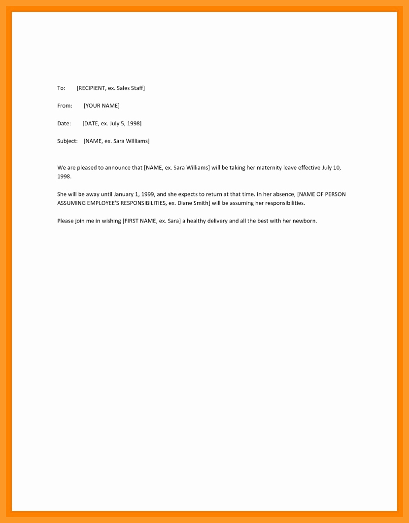Sample Maternity Leave Letter Fresh 9 10 Maternity Leave Letter to Employee
