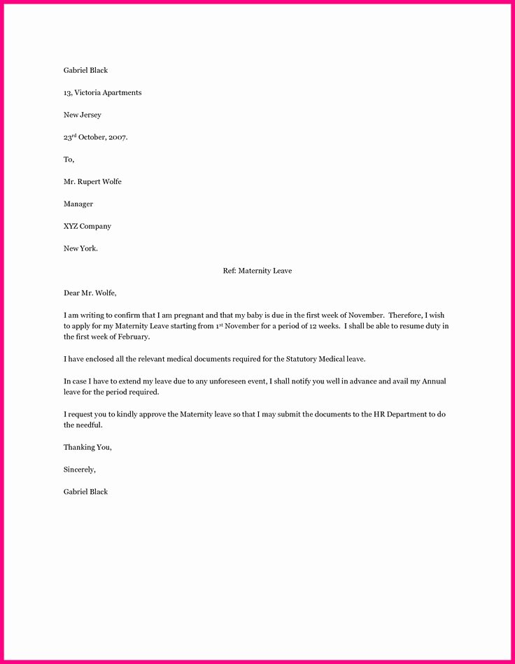 Sample Maternity Leave Letter Inspirational Best 20 Maternity Leave Application Ideas On Pinterest
