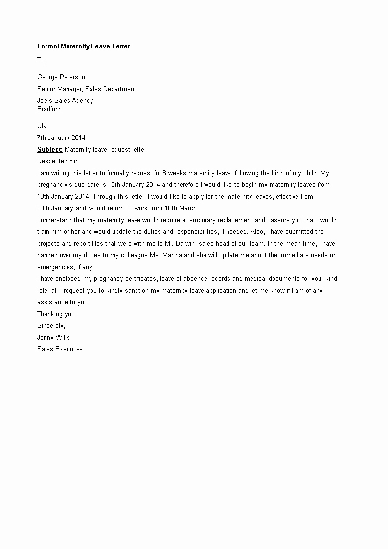 Sample Maternity Leave Letter Lovely Maternity Leave Letter Sample