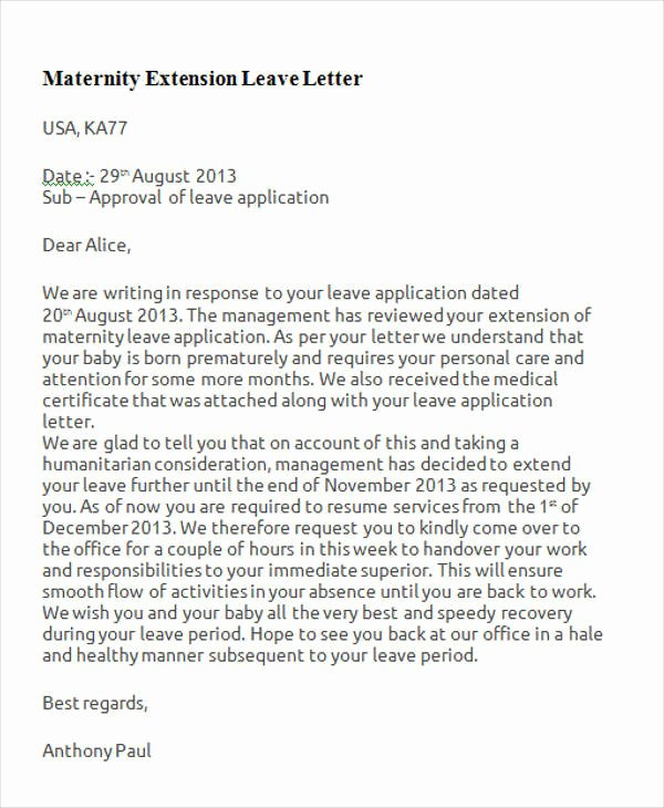 Sample Maternity Leave Letter Luxury Maternity Leave Letter Beautiful Maternity Leave Letter
