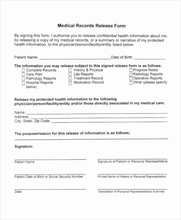 Sample Medical Records Elegant Free 25 Printable Medical Release forms