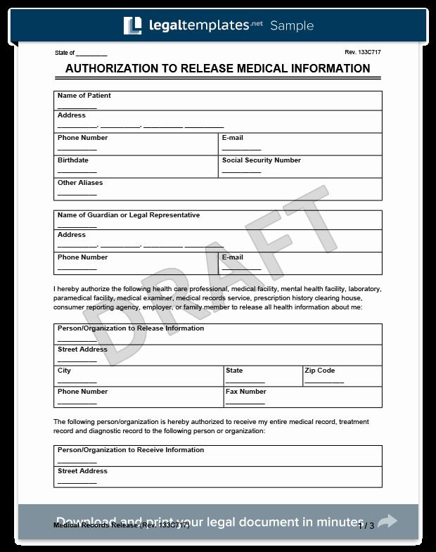 Sample Medical Records Elegant Medical Records Release form