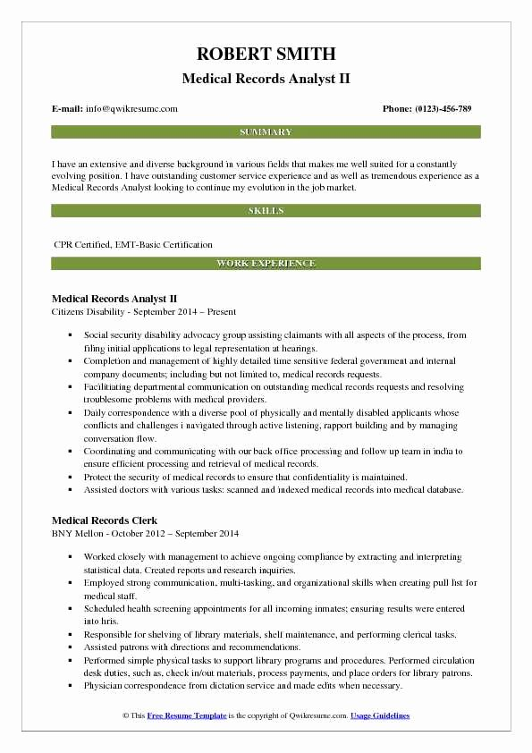Sample Medical Records Fresh Medical Records Analyst Resume Samples