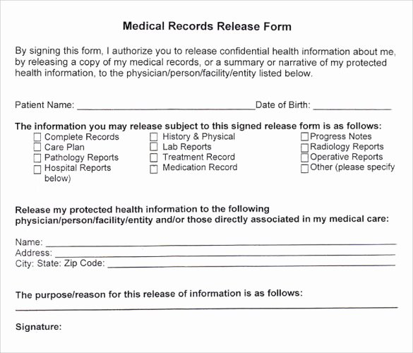 Sample Medical Records Luxury Medical Records Release form 10 Free Samples Examples
