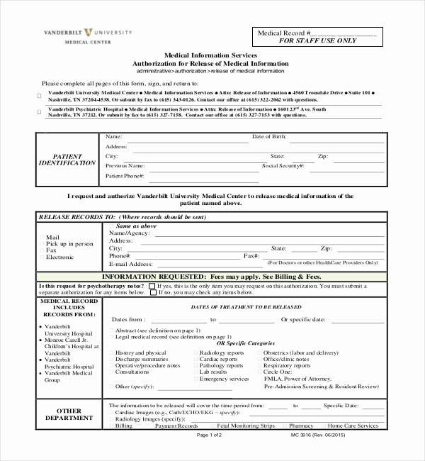 Sample Medical Records New Free 19 Sample Medical Records Release forms