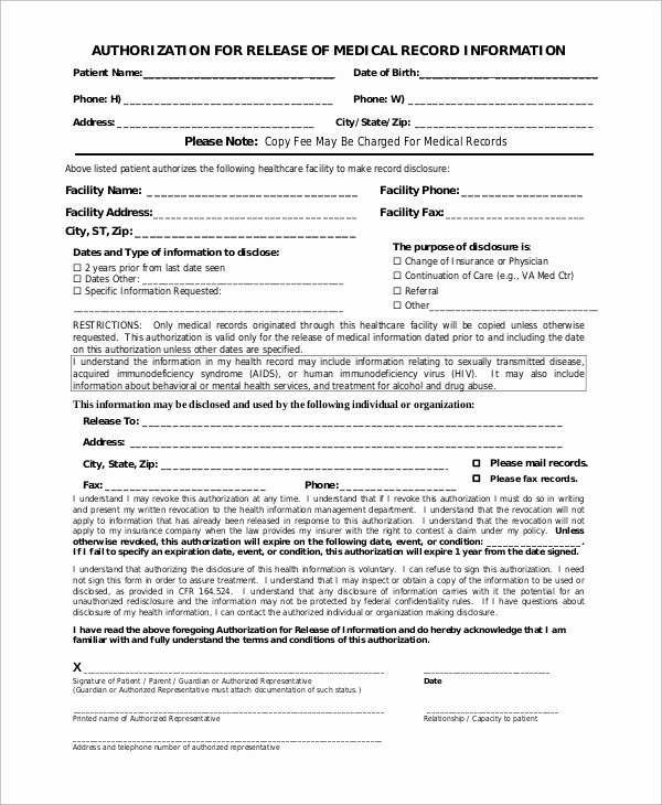 Sample Medical Records Unique Sample Medical Release form 9 Examples In Pdf