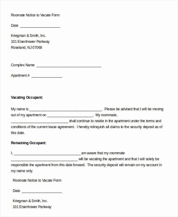 Sample Move Out Notice Elegant 5 Notice to Vacate form Free Download Templates Study