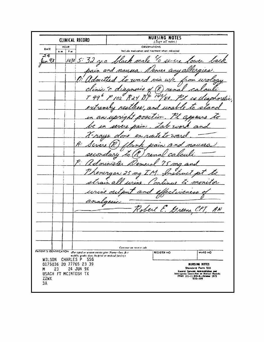 Sample Nurses Notes Narrative Lovely Figure 1 16 Sf 510 Nursing Notes Showing An Admitting