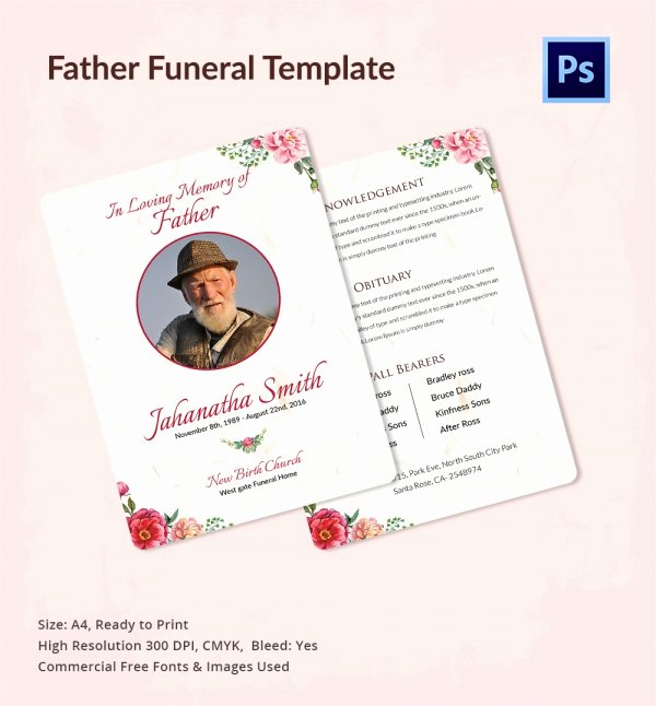 Sample Obituary for Dad Awesome Sample Father Funeral Program 11 Documents In Pdf Psd