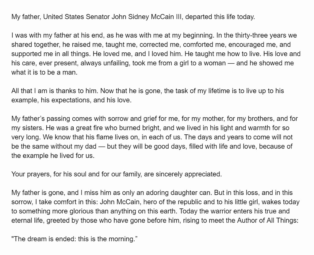 "Sample Obituary for Dad Elegant Meghan Mccain On Twitter ""i Love You forever My Beloved"