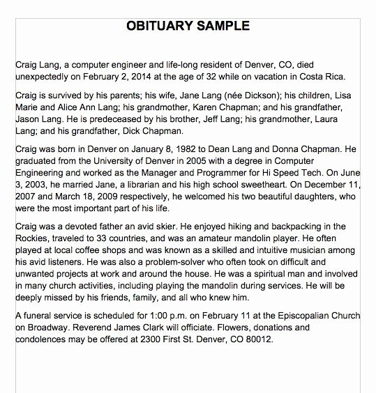 Sample Obituary for Dad Fresh 25 Obituary Templates and Samples Template Lab